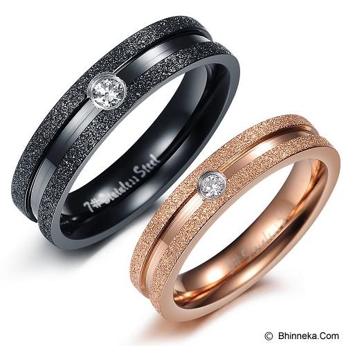 TITANIUM RING Cincin Couple Size 7(F) & 9(M) [GS217] - Gold & Black - Cincin